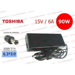 CARGADOR ORIGINAL TOSHIBA 15V 6A 90W 6.3*3.0