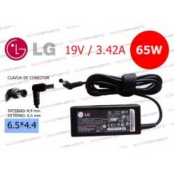 CARGADOR ORIGINAL LG 19V 3.42A 65W 6.5*4.4 CENTRAL PIN