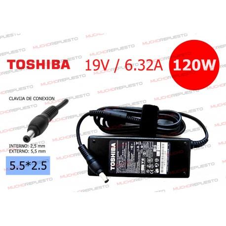 CARGADOR ORIGINAL TOSHIBA 19V 6.32A 120W 5.5*2.5