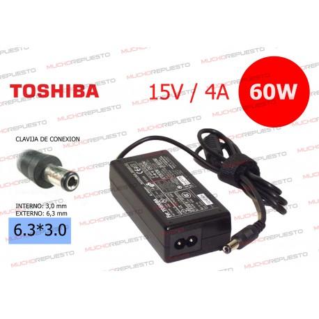 CARGADOR ORIGINAL TOSHIBA 15V 4A 60W 6.3*3.0