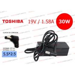 CARGADOR ORIGINAL TOSHIBA 19V 1.58A 30W 5.5*2.5