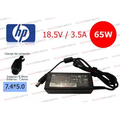 CARGADOR ORIGINAL HP 18.5V 3.5A 65W 7.4*5.0 CENTRAL PIN A06