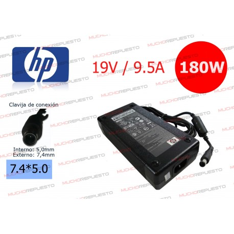 CARGADOR ORIGINAL HP 19V 9.5A 180W 7.4*5.0 CENTRAL PIN