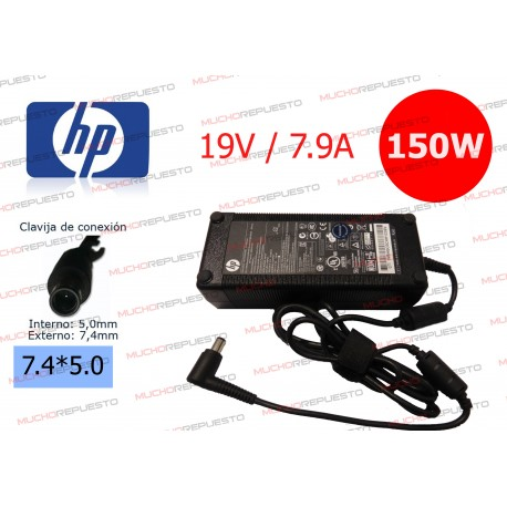 CARGADOR ORIGINAL HP 19V 7.9A 150W 7.4*5.0 CENTRAL PIN