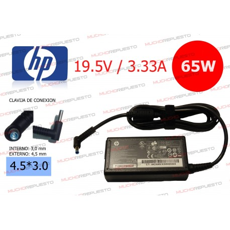 CARGADOR ORIGINAL HP 19.5V 3.33A 65W 4.5*3.0 CENTRAL PIN AZUL