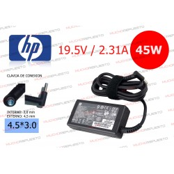 CARGADOR ORIGINAL HP 19.5V 2.31A 45W 4.5*3.0 CENTRAL PIN AZUL