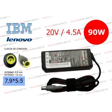 CARGADOR ORIGINAL IBM-LENOVO 20V 4.5A 90W 7.9*5.5