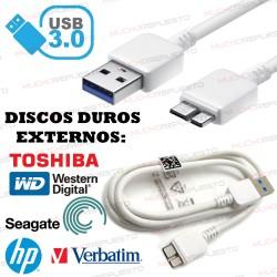 CABLE USB 3.0 A-MICRO B A USB (Carga y Datos) 1metro BLANCO (DISCOS DUROS EXTERNOS Y MOVILES)
