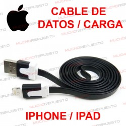 CABLE USB DE DATOS Y CARGA IPHONE 5/6/7 / IPAD 4 NEGRO 1 metro