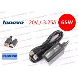 CARGADOR LENOVO 20V/5V 3.25A 65W USB