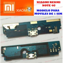 PLACA CONECTOR USB XIAOMI RedMi Note 4G LTE (Modelo Single SIM - 1 SIM)