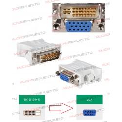 CONVERSOR DVI-D Macho (Dual Link) (24PINES+1 RAYA) MACHO A VGA Hembra